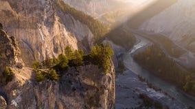 Sunrise Valley Canyon Rheinschlucht Switzerland Aerial 4k
