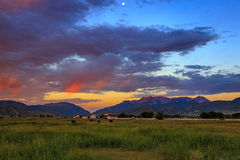 Sunrise valley and field landscape in the Wasatch Mountains, Utah. Royalty Free Stock Photos
