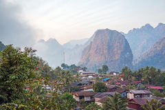 Sunrise Vang Vieng. Sunrise in Vang Vieng. Vang Vieng is a tourist-oriented town in Laos stock photos