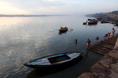 Sunrise at Varanasi. Boats on the Ganges River or Ganga River in Varanasi, Uttar Pradesh, India Royalty Free Stock Photos