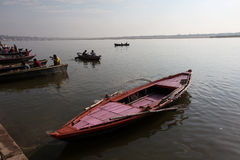 Sunrise at Varanasi. Boats on the Ganges River or Ganga River in Varanasi, Uttar Pradesh, India Stock Images