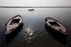 Sunrise at Varanasi. Boats on the Ganges River or Ganga River in Varanasi, Uttar Pradesh, India Stock Photo