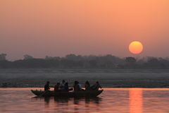 Sunrise in Varanasi Stock Photos