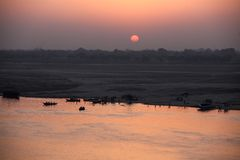Sunrise at Varanasi. MP092: Sunrise on the Ganges river at Varanasi, Uttar Pradesh, India Stock Photos