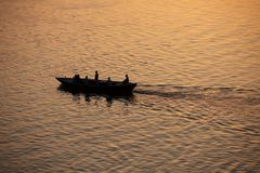 Sunrise at Varanasi. MP099: Sunrise on the Ganges river at Varanasi, Uttar Pradesh, India Royalty Free Stock Image