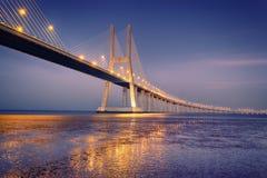 Sunrise on Vasco da Gama bridge. In Lisbon, Portugal royalty free stock photos