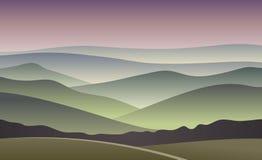 Sunrise vector illustration. blurred mountain background.  Royalty Free Stock Image