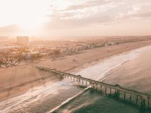 Sunrise at the Venice beach in Los Angeles. Fresh sunrise morning at the Venice beach in Los Angeles. Aerial view from above in USA. View on the Santa Monica Royalty Free Stock Image