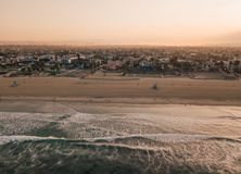 Sunrise at the Venice beach in Los Angeles. Fresh sunrise morning at the Venice beach in Los Angeles. Aerial view from above in USA. View on the Santa Monica Stock Image