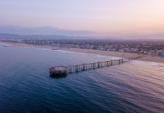 Sunrise at the Venice beach in Los Angeles. Fresh sunrise morning at the Venice beach in Los Angeles. Aerial view from above in USA. View on the Santa Monica Stock Photography