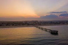 Sunrise at the Venice beach in Los Angeles. Fresh sunrise morning at the Venice beach in Los Angeles. Aerial view from above in USA. View on the Santa Monica Stock Photo