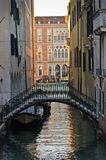 Sunrise in Venice at canal near Academia bridge Stock Photography