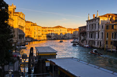 Sunrise in Venice at Grand canal near Academia bridge Stock Photos