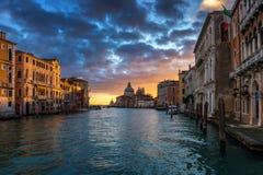 Sunrise in Venice. Image of Grand Canal in Venice, with Santa Maria della Salute Basilica in the background. Venice is a popular. Tourist destination of Europe stock image