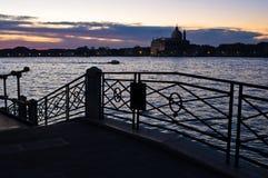 Sunrise in Venice near Grand Canal, San Giorgio Maggiore church in background Stock Images