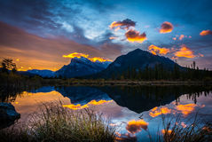 SunRise at the Vermilion Lake. Mt. Rundle Stock Photos