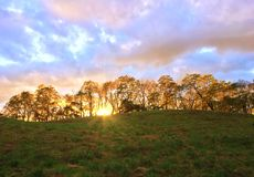 The sunrise is very strong and the sun rises. On the hillside of a farm, the morning sun rises slowly along the hillside royalty free stock images