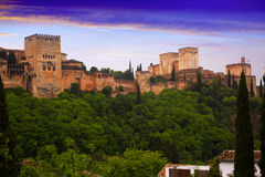 Sunrise view of Alcazaba at Alhambra.  Granada Royalty Free Stock Images
