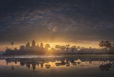 Sunrise view of ancient temple complex Angkor Wat Siem Reap, Cambodia stock photos