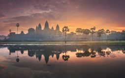 Sunrise view of ancient temple complex Angkor Wat Siem Reap, Cambodia stock image