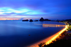 Sunrise view of Ao Manao bay in Prachuap Khiri Khan, Thailand Stock Image