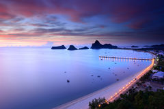 Sunrise view of Ao Manao bay in Thailand Stock Images