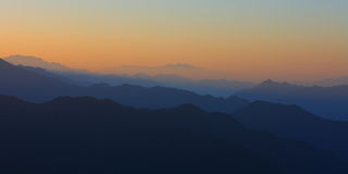 Sunrise view of beautiful mountain silhouette. In Pingwu, Sichuan, China Royalty Free Stock Image