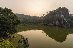 Sunrise view of beautiful and serene little guilin Stock Photography