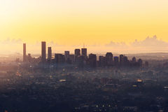 Sunrise View of the Brisbane City from Mount Coot-tha. Royalty Free Stock Images