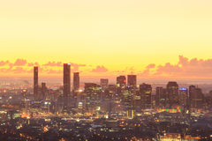 Sunrise View of the Brisbane City from Mount Coot-tha Stock Image