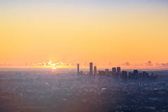 Sunrise View of the Brisbane City from Mount Coot-tha Stock Photography