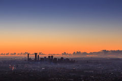 Sunrise View of the Brisbane City from Mount Coot-tha. Queensland, Stock Image