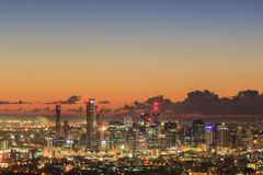 Sunrise View of the Brisbane City from Mount Coot-tha. Queensland Royalty Free Stock Photo