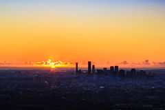 Sunrise View of the Brisbane City from Mount Coot-tha. Queensland Stock Images