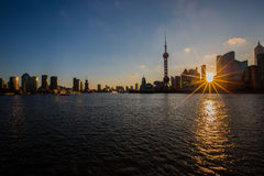 Sunrise view at the bund in Shanghai. In a summer morning stock image