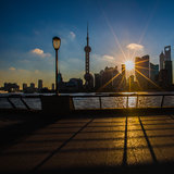 Sunrise view at the bund in Shanghai. In a summer morning royalty free stock photo