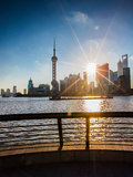 Sunrise view at the bund in Shanghai. In a summer morning royalty free stock photography