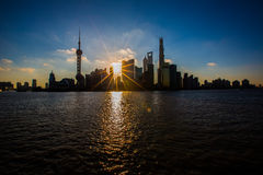 Sunrise view at the bund in Shanghai. In a summer morning royalty free stock images