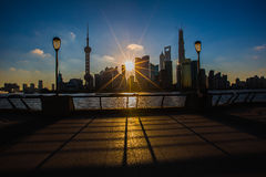 Sunrise view at the bund in Shanghai. In a summer morning stock photo