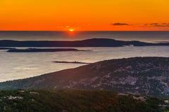 Sunrise view from Caddilac Mountain in Acadia National Park, Mai. Ne Royalty Free Stock Photo