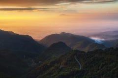 Sunrise view at Doi Ang Khang Chiang Mai stock images