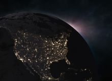 Sunrise, view of Earth from space - North America. Elements of this image furnished by NASA. 3d illustration Royalty Free Stock Photography