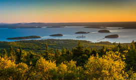 Sunrise view of Frenchman's Bay and the Porcupine Islands from C Royalty Free Stock Photography