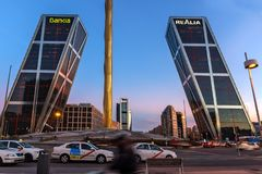 Sunrise view of Gate of Europe KIO Towers at Paseo de la Castellana street in City of Madrid,. MADRID, SPAIN - JANUARY 23, 2018:  Sunrise view of Gate of Europe Stock Photography