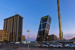 Sunrise view of Gate of Europe KIO Towers at Paseo de la Castellana street in City of Madrid,. MADRID, SPAIN - JANUARY 23, 2018:  Sunrise view of Gate of Europe Stock Image