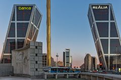 Sunrise view of Gate of Europe KIO Towers at Paseo de la Castellana street in City of Madrid,. MADRID, SPAIN - JANUARY 23, 2018:  Sunrise view of Gate of Europe Stock Photo