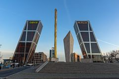 Sunrise view of Gate of Europe KIO Towers at Paseo de la Castellana street in City of Madrid,. MADRID, SPAIN - JANUARY 23, 2018:  Sunrise view of Gate of Europe Royalty Free Stock Image