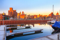 Sunrise view on Gdansk old town from marina Royalty Free Stock Photo