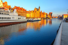 Sunrise view on Gdansk old town from waterfront Stock Photography