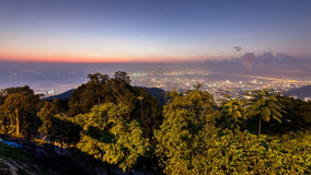 Sunrise view of George Town from Penang Hill. Beautiful landscape series of sunrise and sunset collection from George Town, Penang, Malaysia Royalty Free Stock Photography